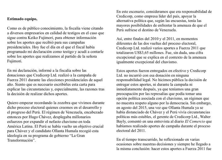Dionisio Romero reveló que le dió más de $ 3 millones a Keiko Fujimori
