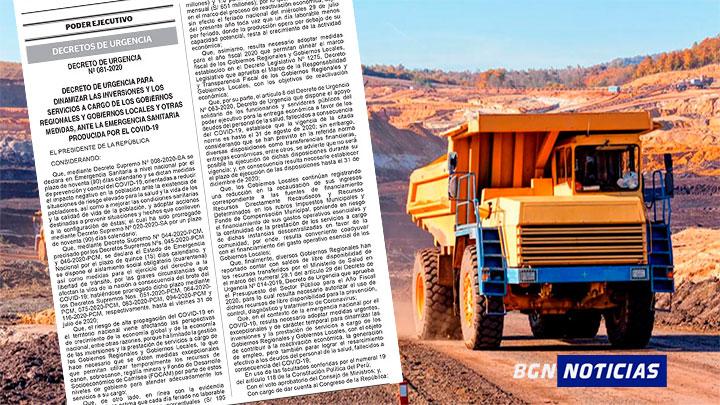 Gobernadores y alcaldes podrán usar el 25% del canon minero para la covid-19